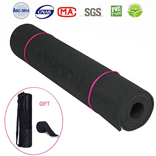 Non Slip Black Yoga Mat with Strap & Bag - ATHOON 2018 New Eco Friendly Non Slip Exercise Mat - 1/4Inch for Pilates, Workouts, Longer And Wider