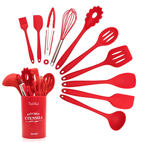 Kitchen Utensils Set, Tuilful Silicone Heat-Resistant Cooking Utensils Set, Nonstick Dishwasher Safe Cooking Tools 11 Pieces, Kitchen Utensil Gadgets Set for Gift - Red