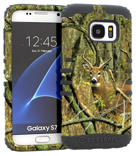 Galaxy S7 Case, Hybrid Kickstand Shockproof Impact Resistant Cover Real Deer Camo Mossy Over Grey Skin for Samsung Galaxy S7