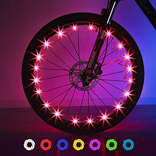 Best Bike Wheels - Exwell Bike Wheel Lights, 7 Colors in 1 Bike lights,Safety at Night,Switch 9 Modes LED Bike Accessories Lights, USB rechargeable 1 PACK or AA batteries(2 PACK) are available (USB Rechargeable (1Pack))