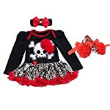 OBEEII My 1st Halloween Newborn Baby Girl Skull Fancy Dress Up Party Costume Romper Tutu Dress Headband Clothes Outfits 3PCS Set Red Skull Long Sleeve 0-3 Months