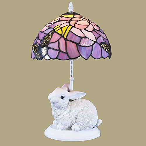 Waneesa Tiffany-style Purple and White Rabbit Lamp