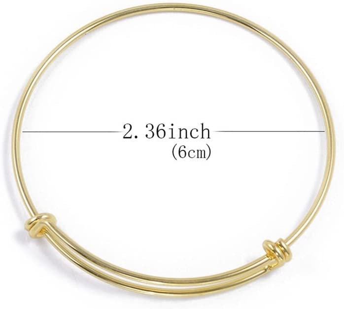 Childrens Expandable Blank Bangle Bracelet for Jewelry DIY Making 2 Colors