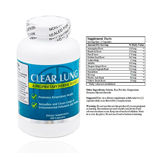 Clear Lung Proprietary Herbal Detox Blend Formula (200 Capsules)