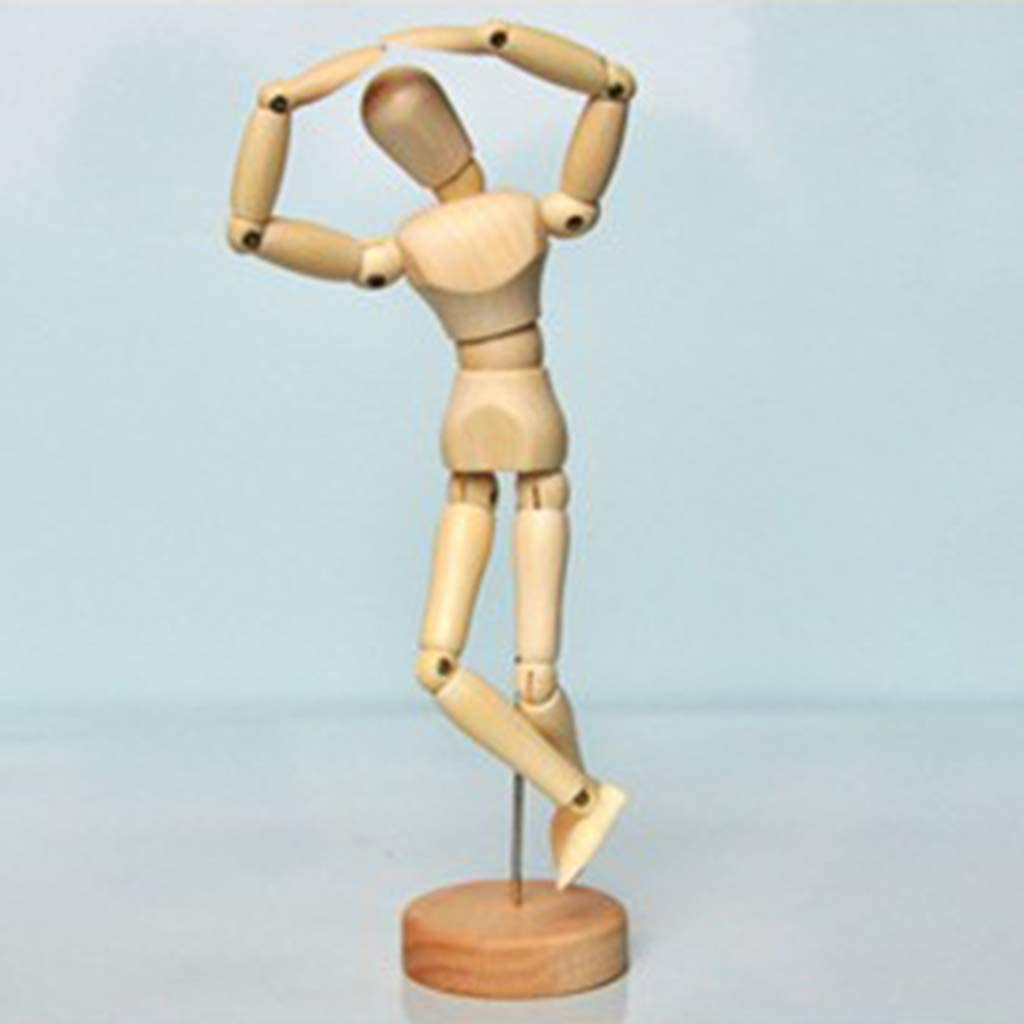DYNWAVE Wood 5.5inch Artist Drawing Manikin Articulated Mannequin with Base and Flexible Male Body Perfect for Drawing The Human Figure