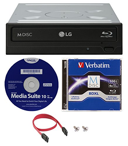 LG WH16NS40K 16X Blu-ray BDXL M-DISC DVD CD Writer Drive (with 3D Playback) Bundle with 100GB Verbatim M-Disc BDXL,Cyberlink and Cable
