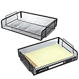 2 Trays Printer - Set of 2 Black Mesh Wire Stackable Document Trays, Folder Letter Racks