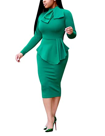 Amazon Com Akmipoem Women S Business Long Sleeve Peplum Bodycon