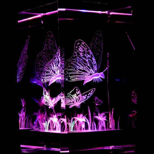 Laser Lighthouse Crystal (Butterflies 3D Laser Etched Crystal + Display Light Base)