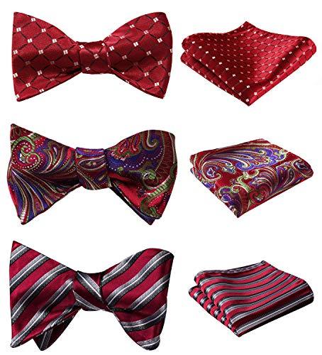 HISDERN 3pcs Mixed Design Classic Men's Self-Tie Bow tie & Pocket Square - Multiple Sets]()