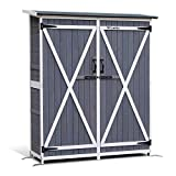 Mcombo Outdoor Wooden Storage Shed Utility Tools Organizer Garden Lawn with Lockable Double Doors 1400