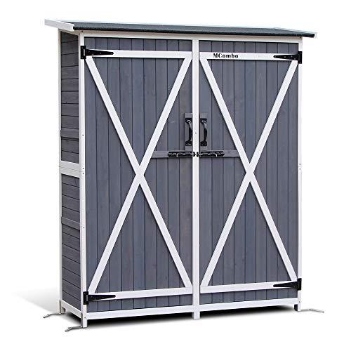 Mcombo Storage Shed Backyard Utility Tools Organizer Outdoor Wooden Garden Racks Shelves with Lockers 2 Doors Home Furniture 1400(Grey)