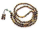 OVALBUY 6mm Tiger Eye Beads Tibetan Buddhist Prayer Meditation 108 Japa Mala