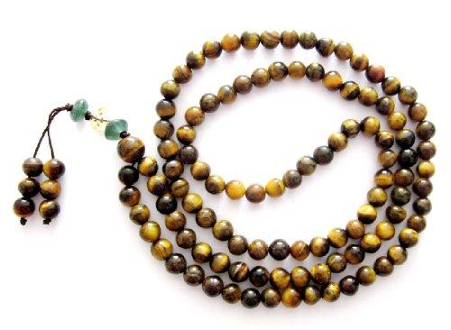 6mm Tiger Eye Beads Tibetan Buddhist Prayer Meditation 108 Japa Mala
