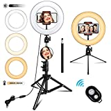 TUKTOBE 10 inch Ring Light with Stand  Selfie Ring Light with Tripod Stand & Cell Phone Holder for Live Stream  YouTube Video  Makeup  Dimmable LED Camera Ringlight Compatible with iPhone Android