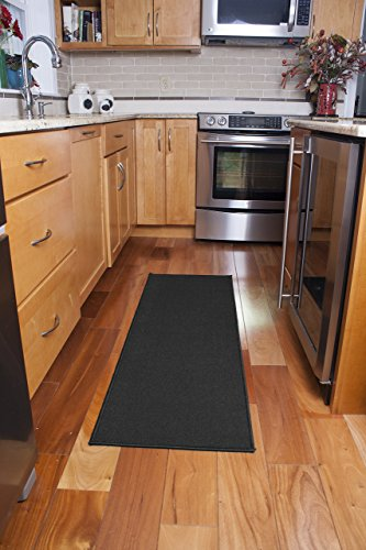 Ritz Accent Door Rug Runner with Non-Slip Latex Backing, 20-Inch by 60-Inch Kitchen & Bathroom Runner Rug, Black by Ritz
