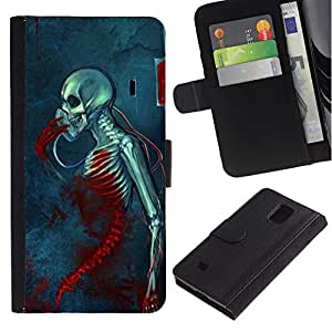 All Phone Most Case / Oferta Especial Cáscara Funda de cuero Monedero Cubierta de proteccion Caso / Wallet Case for Samsung Galaxy Note 4 IV // Blood Metal Music Death Skeleton