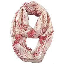 Lina & Lily Vintage Postage Stamp Print Infinity Loop Scarf for Women Lightweight