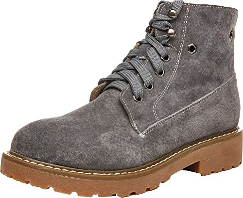 Abby 803 Womens Comfort Flat Work Job Flat Cowhells Outsole Lace Up Leather Combat Warm Winter Martin Boots Grey(leather Inner) feopVKM