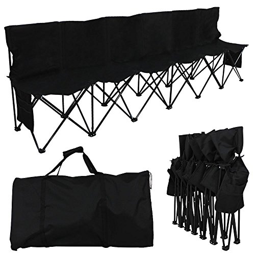 Yaheetech 6 Seats Foldable Sideline Bench for Sports Team Camping Folding Bench Chairs ()