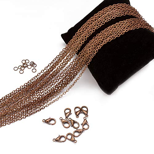 Forise 33 Feet Red Copper Chain with 30pcs Jump Ring Lobster Clasp for Jewelry Making Necklace Bracelet (For Chain Making Jewelry Copper)