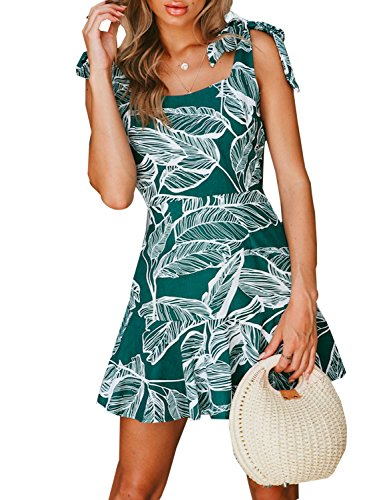 BMJL Women's Zipped Floral Sleeveless Slim Backless A Line Slip Ruffle Tie Short Mini Dress (M,Green)