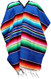 Trade MX Authentic Heavy Mexican Ponchos Sarapes Adult Size (Blue)