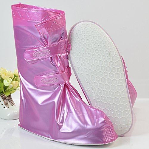 QZUnique Womens Waterproof Rubber Rain Boots Anti-slip Ankle High Rain Shoes Bright Pink-1 43BamkBtO