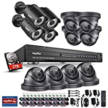 SANNCE 16CH HD 1080P DVR Recorder with 2TB Surveillance Hard Drive Security Cameras System and (12) 1080P Hi-Resolution Outdoor/Indoor Weatherproof CCTV Cameras
