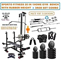 SPORTO FITNESS 20 KG PVC Combo Leather Home Gym and Fitness Kit with 20 in 1 Bench