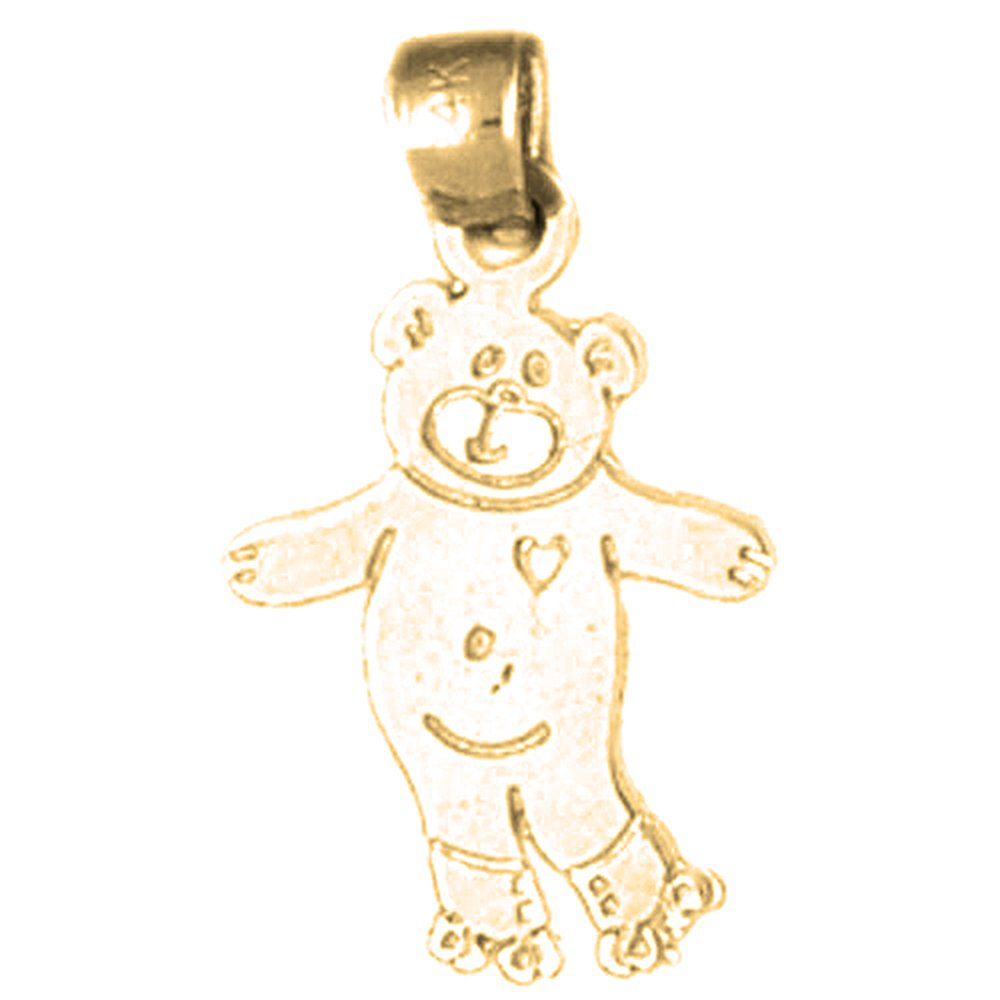 Jewels Obsession Teddy Bear Necklace 14K Yellow Gold-plated 925 Silver Teddy Bear Pendant with 16 Necklace