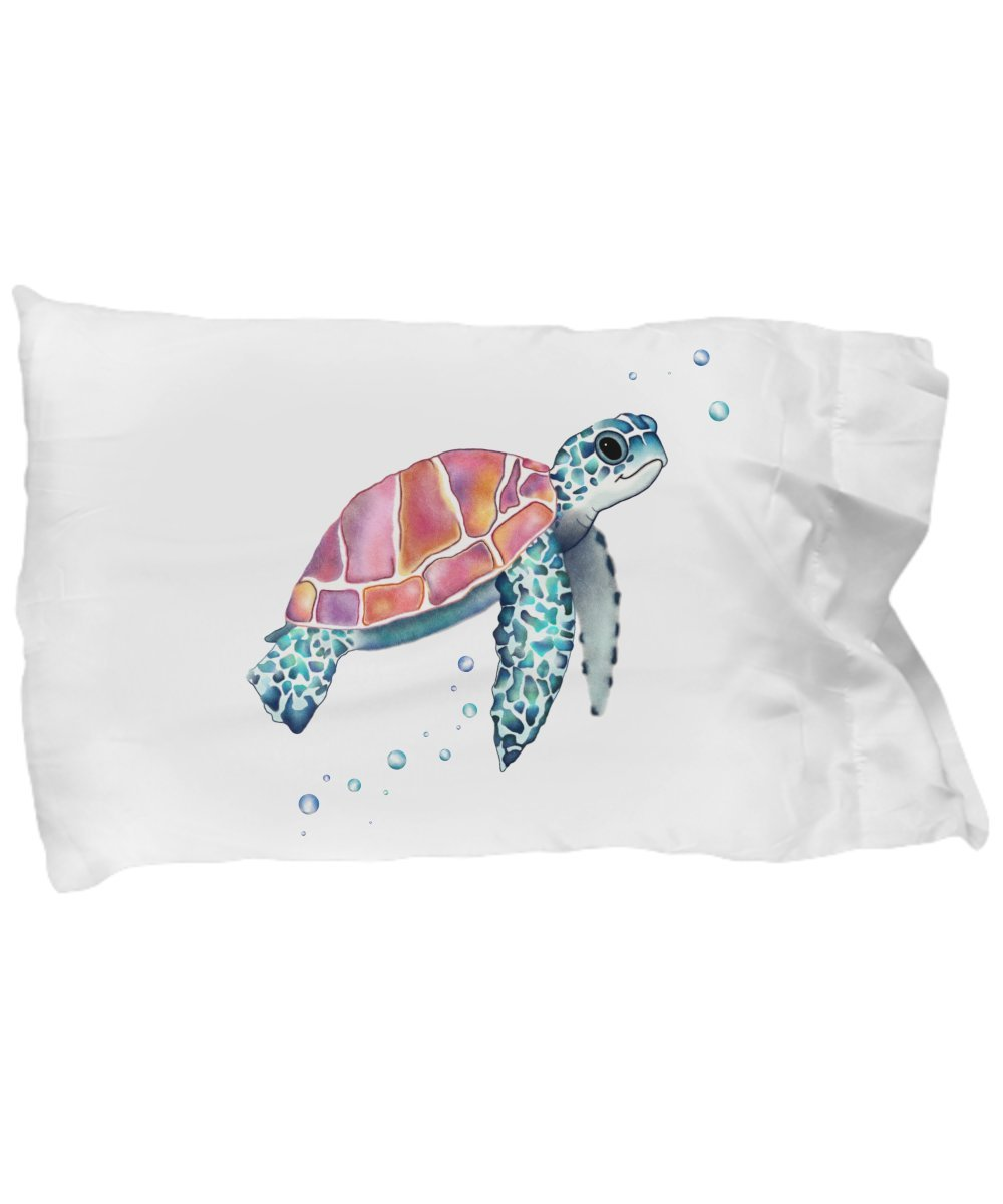 Sea Turtle Pillow - Cute Animal Lover Gifts - White Microfiber Pillowcase Bedding