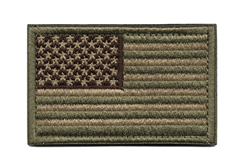 - Monte Everest Tactical American Flag Patch Decorative Military Uniform Emblem with Hook and Loop (Green & Tan)