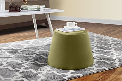 DIVANO ROMA FURNITURE Modern Contemporary Velvet Small Footstool, Foot Rest (Olive Green)