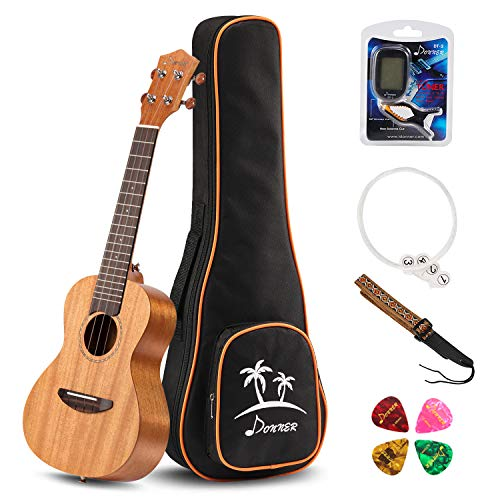 Donner Concert Ukulele Mahogany DUC-1 23 inch with Ukulele Set Strap Nylon String Tuner (Best Ukulele For Beginners)