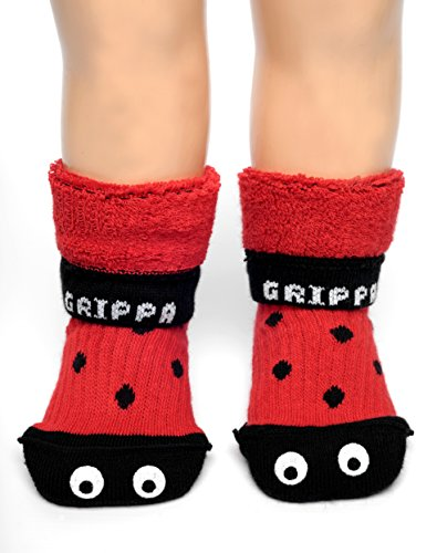 GRIPPA SOCKS ladybird kids cotton slipper socks made in Britain, approved by UK's leading foot health experts, Great for childrens feet