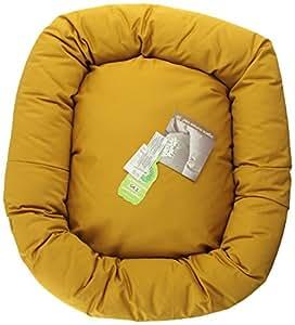 "West Paw Design Organic Bumper Stuffed Dog Bed Organic Cotton, Gold/Gold - Medium 28"" x 25"""
