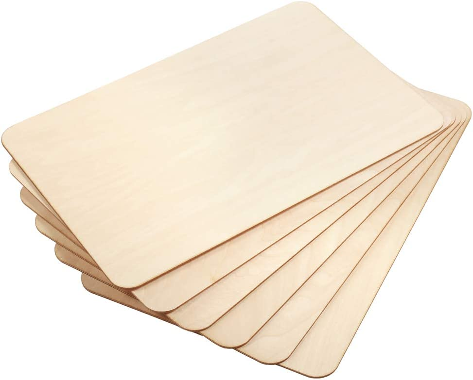 Caydo 6 Piece 12 x 8 inch Rectangle Unfinished Basswood Wooden Sheets for Christmas Mini House Building Wooden Plate Model Architectural Model and Other Hand Made Project School Projects Craft DIY