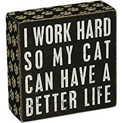 Primitives By Kathy Paw Print Trimmed Box Sign, Cat Better Life