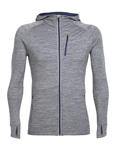 Icebreaker Merino Men's Quantum Long Sleeve Zip Hoodie, Gritstone Heather, - Quantum Hooded Shirt