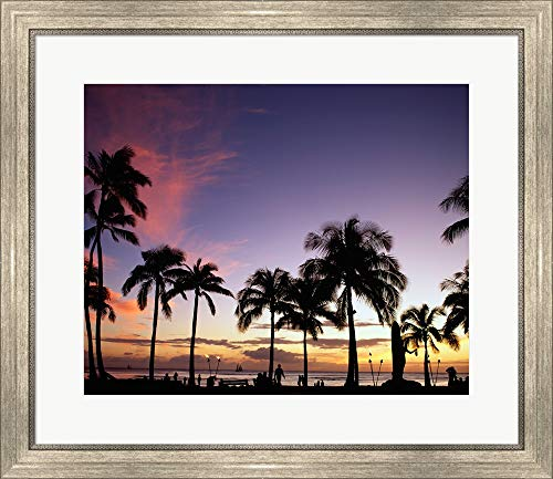 Silhouette of Palm Trees on The Beach, Waikiki Beach, Honolulu, Oahu, Hawaii, USA Framed Art Print Wall Picture, Silver Scoop Frame, 28 x 24 inches