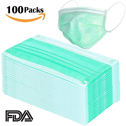 100 Pcs Disposable Surgical Flu Face Masks, 3-Ply Thicker Super Filter Pollen Dust and Bacteria, Anti allergy Dental Medical Procedure Mask (Green) (Loop Soft Pet)