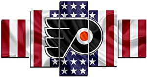 SANZHAIYISHENG Philadelphia Flyers NHL Poster Group Painting on Canvas Hockey Sport Pictures Extra Large Wall Art for Living Room Modern Home Decor Gallery-Wrapped 5 Piece Set Unframed