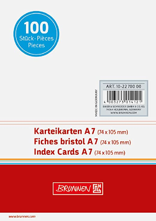1000er Vorteilspack, wei/ß A7 quer 180 g//qm Brunnen Karteikarten liniert