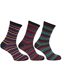 Mens Striped Multicoloured Socks (Pack Of 3)