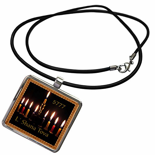 Burns Square Candle (3dRose Jewish Themes - Image of New Year Candles Burn for 5777 L Shanna Tova Border - Necklace With Rectangle Pendant (ncl_256191_1))