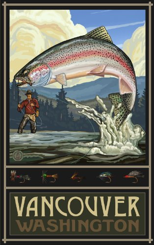 Northwest Art Mall Vancouver Washington Rainbow Trout Fisherman Hills Unframed Poster Print by Paul A. Lanquist, 11-Inch by - Vancouver Mall In