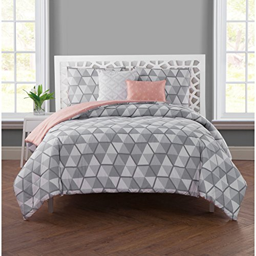 Set Comforter Cube (5 Piece Silver Grey Geometric Comforter Full Queen Set, Gray Triangle Hexagon Pattern, Diamond Shapes Cube Illusion Design, Reversible Peach Pink Crystal Star Adult Bedding Master Bedroom, Polyester)