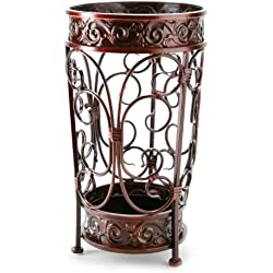 Brelso Super Quality Umbrella Stand, Umbrella Holder, Antique Look Metal, Entry Hallway Décor, Round Style, w/Removable Drip Tray. (Red-Brown)