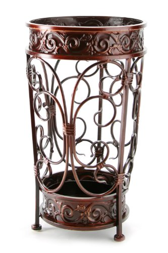 (Brelso Super Quality Umbrella Stand, Umbrella Holder, Antique Look Metal, Entry Hallway Décor, Round Style, w/Removable Drip Tray. (Red-Brown))